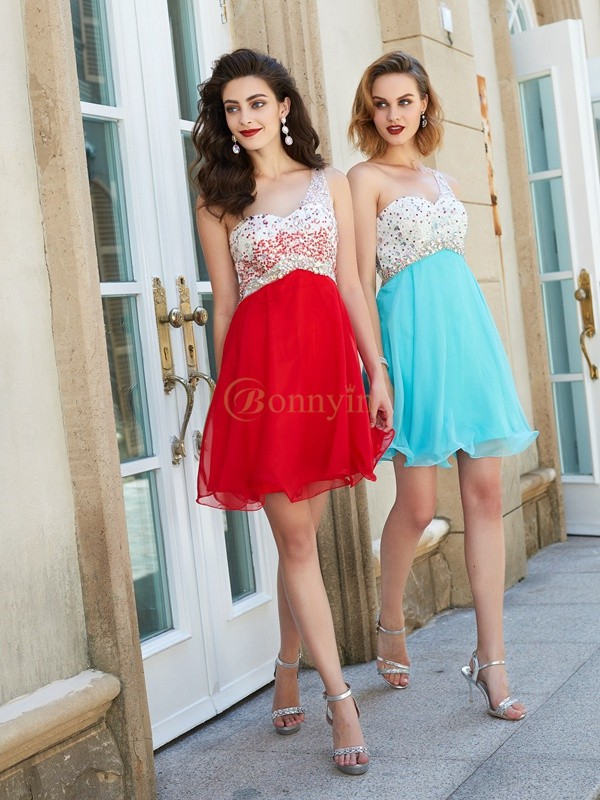 Chiffon One-Shoulder A-Line/Princess Short/Mini Graduation Dresses