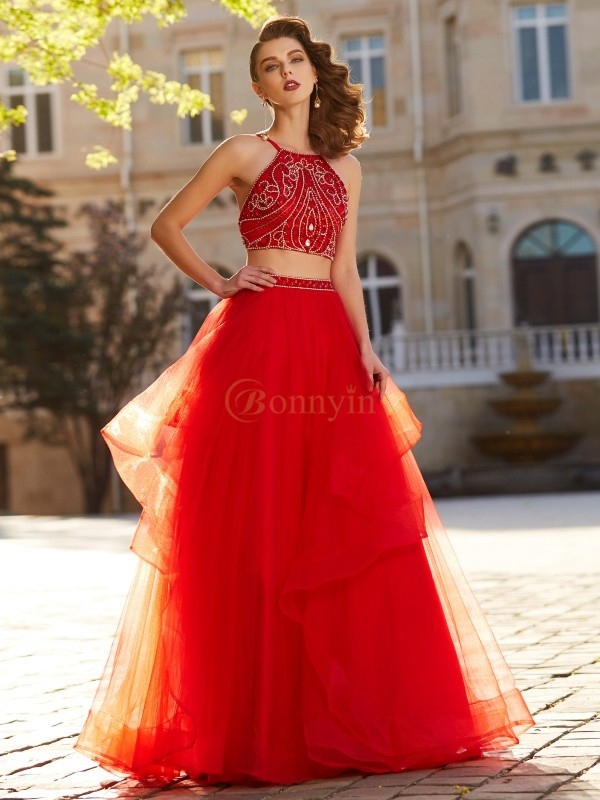 Red Tulle Spaghetti Straps A-Line/Princess Floor-Length Two Piece Dresses