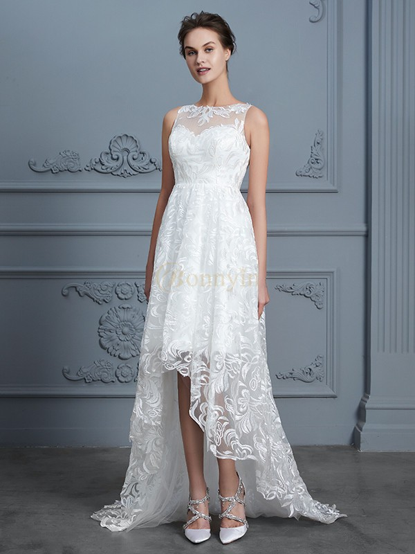 Ivory Lace Scoop A-Line/Princess Asymmetrical Wedding Dresses