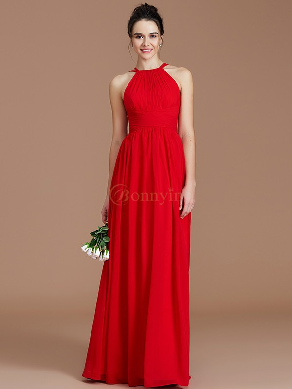 Burgundy Chiffon Halter A-Line/Princess Floor-Length Bridesmaid Dresses