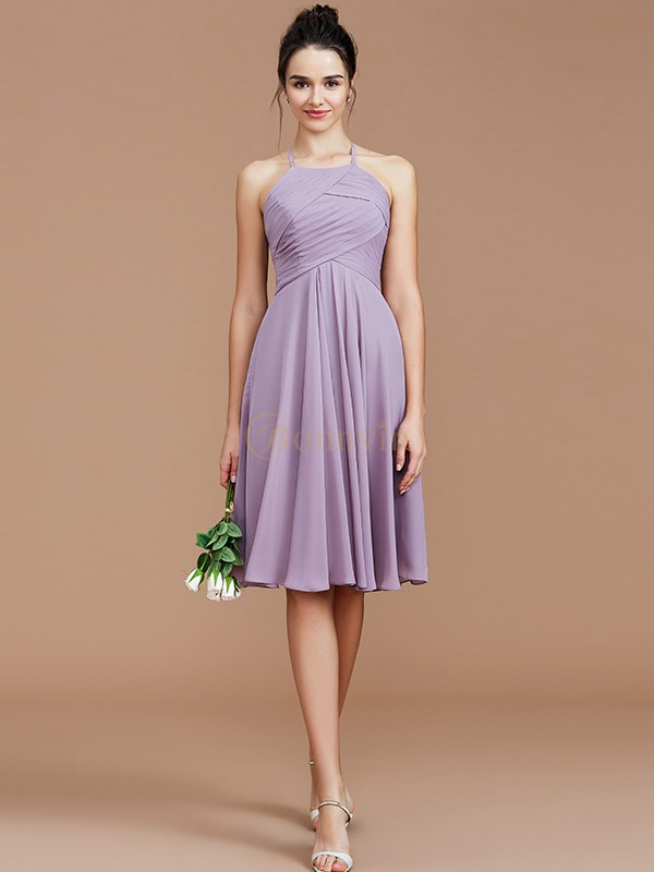 Lilac Chiffon Halter A-Line/Princess Short/Mini Bridesmaid Dresses