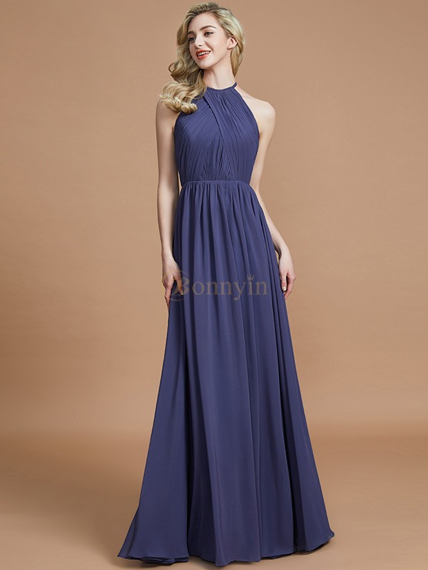 Brown Chiffon Scoop A-Line/Princess Floor-Length Bridesmaid Dresses