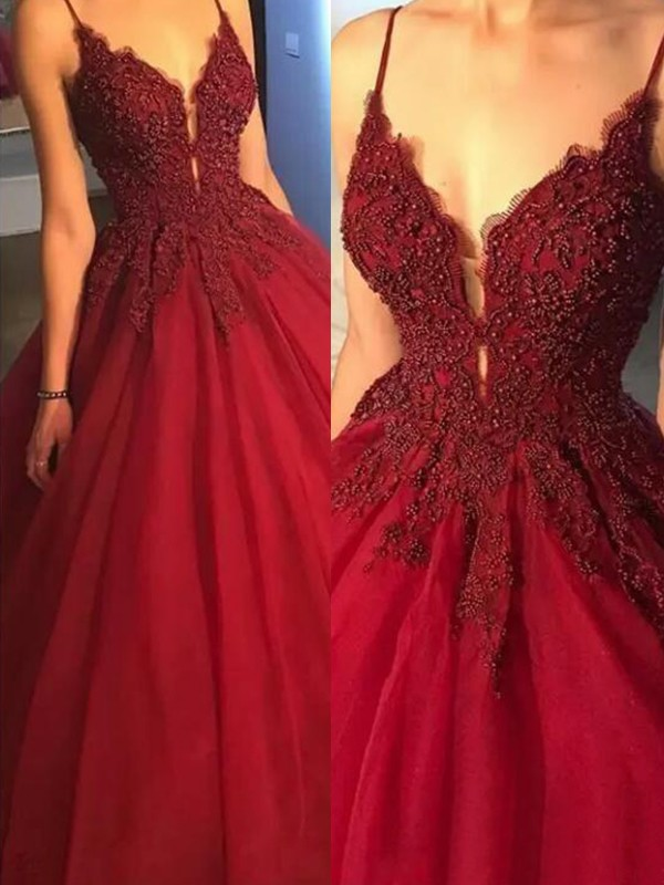 Burgundy Tulle Spaghetti Straps Ball Gown Sweep/Brush Train Dresses