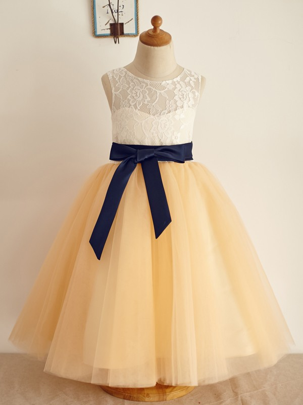 Champagne Tulle Scoop A-Line/Princess Floor-Length Flower Girl Dresses