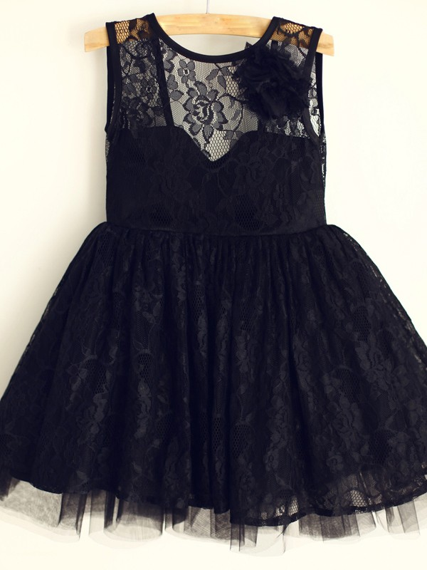 Black Tulle Scoop A-Line/Princess Knee-Length Flower Girl Dresses