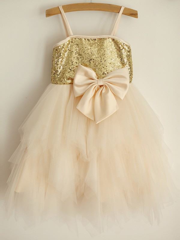 Champagne Tulle Spaghetti Straps A-Line/Princess Knee-Length Flower Girl Dresses