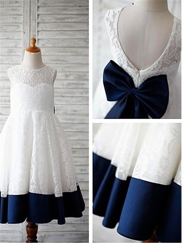Dark Navy Lace Scoop A-line/Princess Ankle-Length Flower Girl Dresses