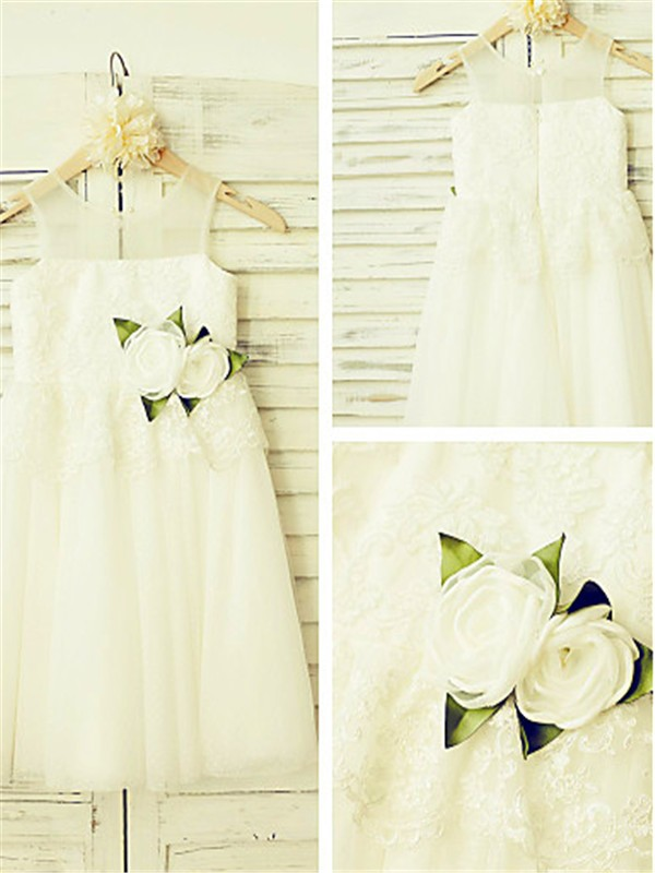 Ivory Tulle Straps A-line/Princess Floor-Length Flower Girl Dresses