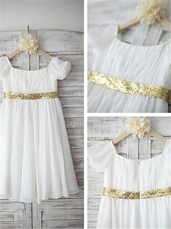 White Chiffon Bateau A-line/Princess Tea-Length Flower Girl Dresses