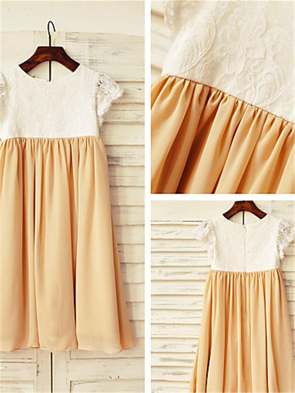 Champagne Chiffon Scoop A-line/Princess Tea-Length Flower Girl Dresses