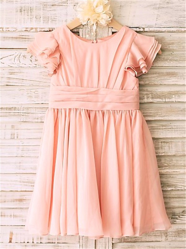 Pink Chiffon Scoop A-line/Princess Tea-Length Flower Girl Dresses
