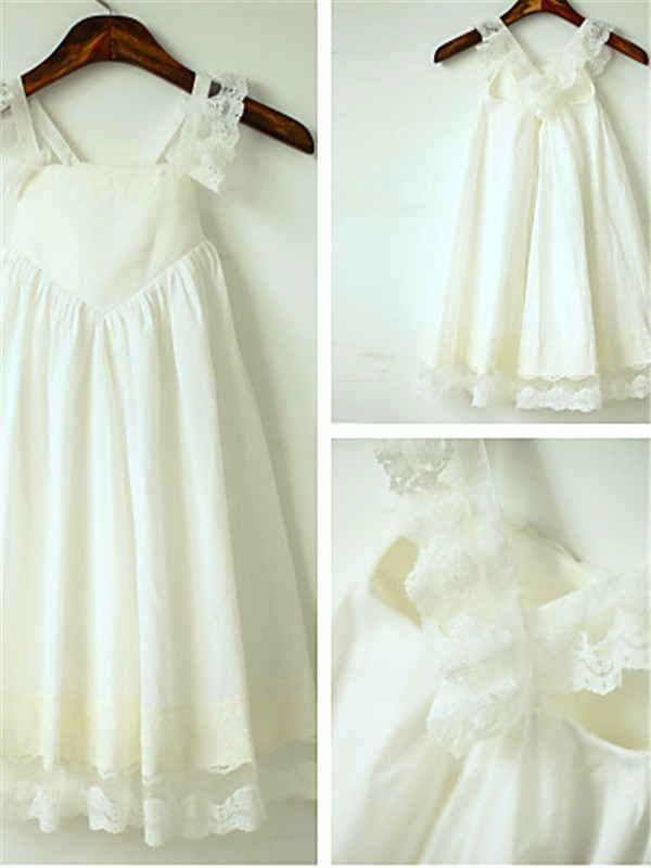 Ivory Chiffon Straps A-line/Princess Tea-Length Flower Girl Dresses