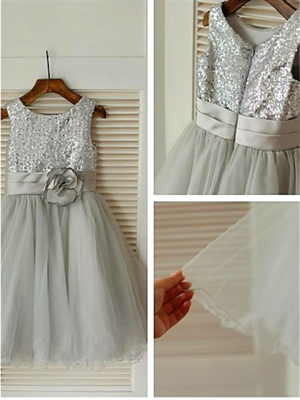 Silver Tulle Scoop A-line/Princess Tea-Length Flower Girl Dresses
