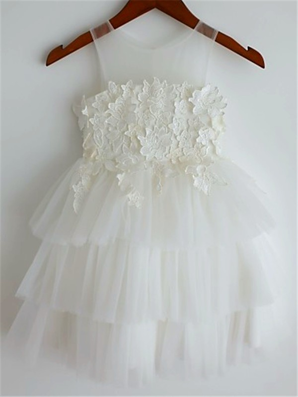 White Tulle Straps A-line/Princess Tea-Length Flower Girl Dresses