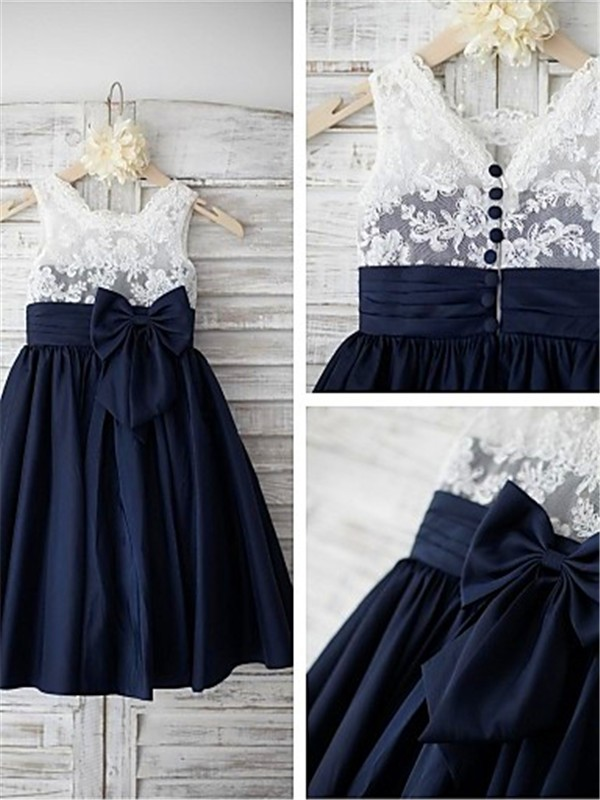 Dark Navy Chiffon Straps A-line/Princess Floor-Length Flower Girl Dresses
