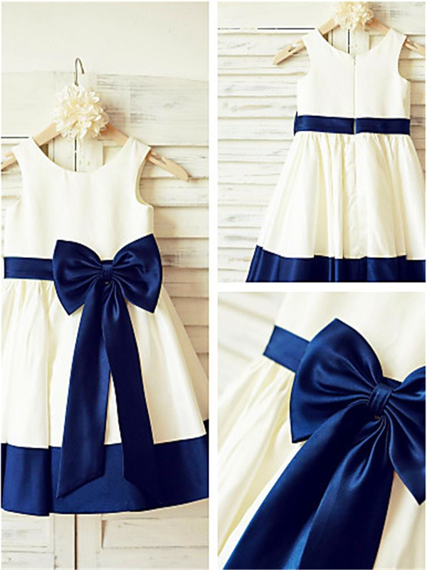Dark Navy Taffeta Scoop A-line/Princess Knee-Length Flower Girl Dresses