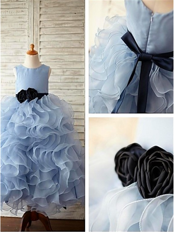 Light Sky Blue Organza Scoop Ball Gown Floor-Length Flower Girl Dresses