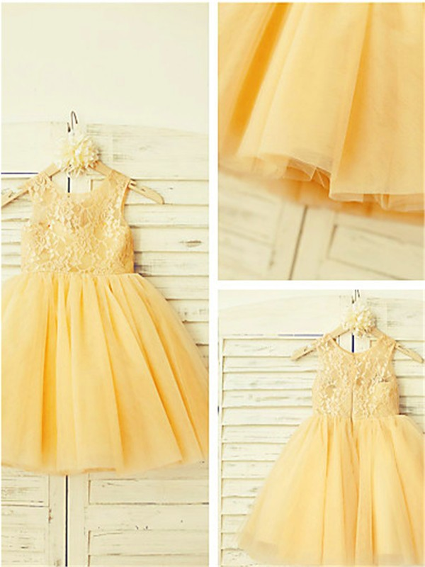 Tulle Scoop A-line/Princess Floor-Length Flower Girl Dresses
