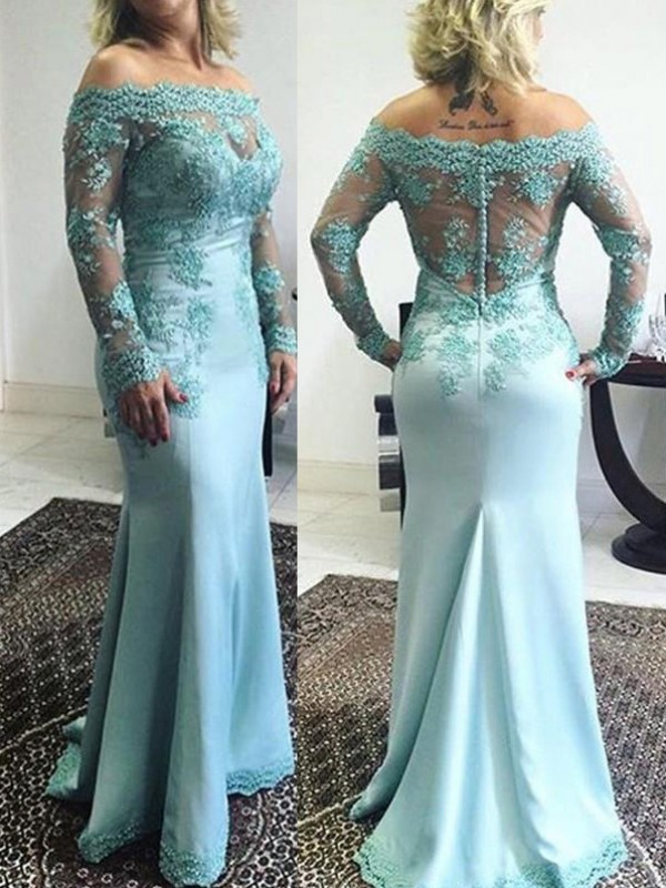 Blue Elastic Woven Satin Off-the-Shoulder Trumpet/Mermaid Sweep/Brush Train Mother of the Bride Dresses
