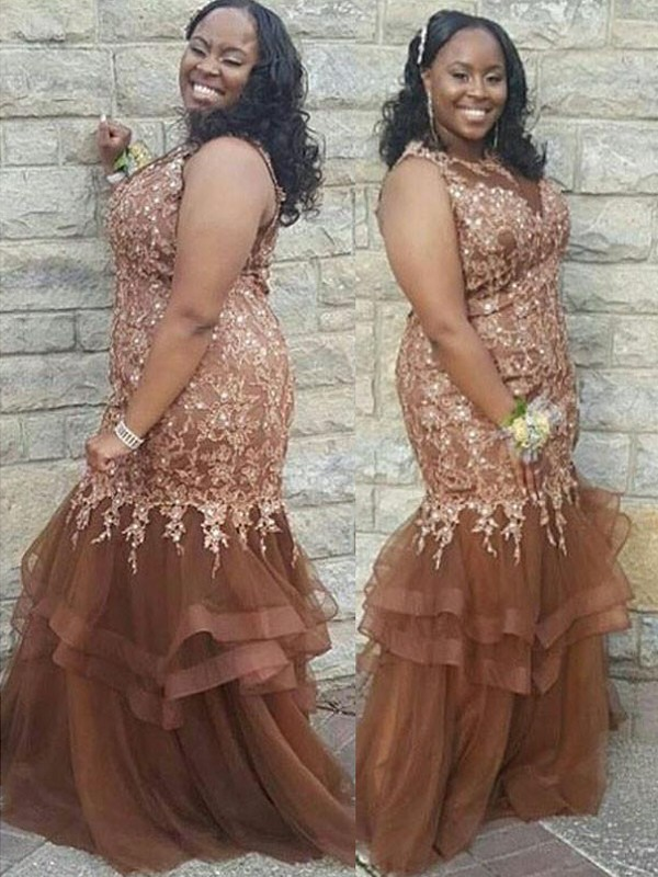 Brown Tulle Sheer Neck Trumpet/Mermaid Floor-Length Plus Size Dresses
