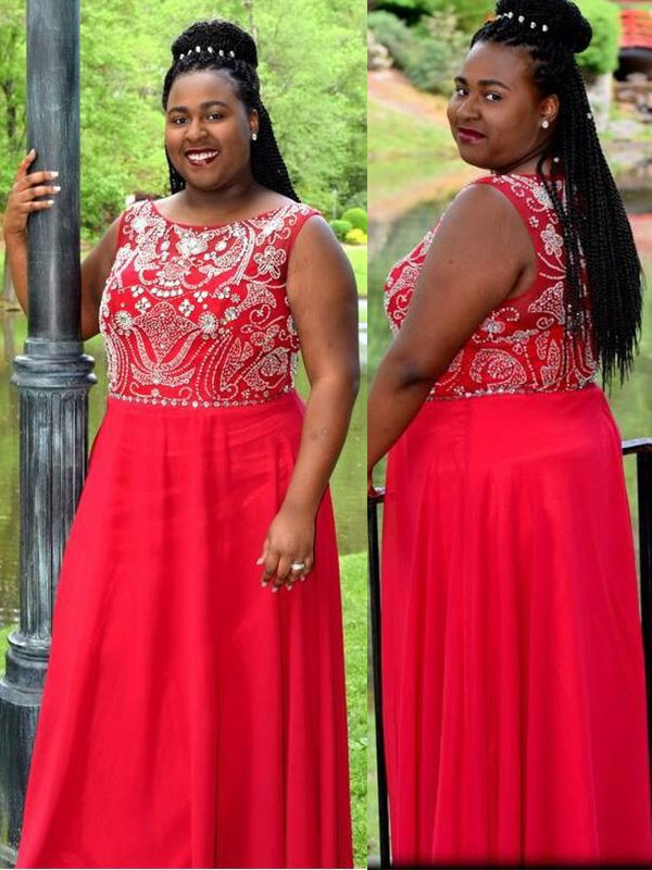 Red Chiffon Scoop A-Line/Princess Floor-Length Plus Size Dresses