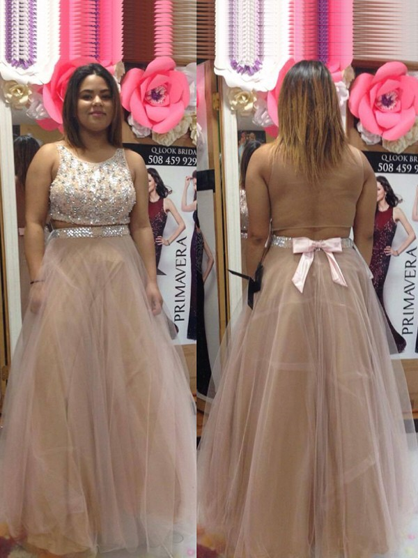 Champagne Tulle Scoop A-Line/Princess Floor-Length Plus Size Dresses