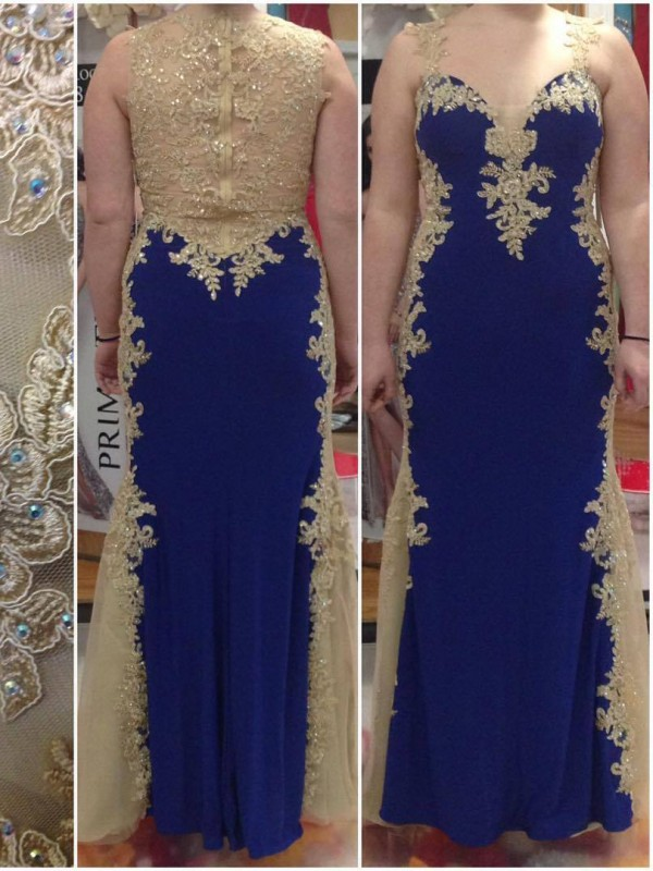 Royal Blue Elastic Woven Satin Straps Sheath/Column Floor-Length Plus Size Dresses