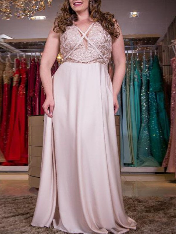 Pearl Pink Elastic Woven Satin V-neck A-Line/Princess Floor-Length Plus Size Dresses