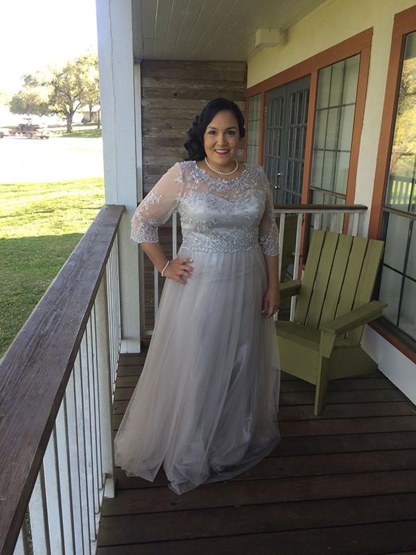 Silver Tulle Scoop A-Line/Princess Floor-Length Mother of the Bride Dresses