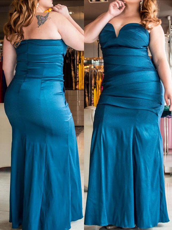 Blue Elastic Woven Satin Sweetheart Trumpet/Mermaid Floor-Length Plus Size Dresses