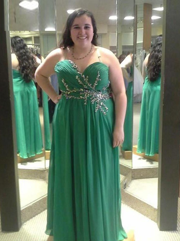 Green Chiffon Sweetheart A-Line/Princess Floor-Length Plus Size Dresses