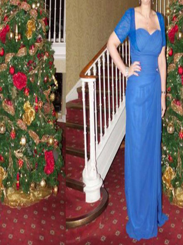 Blue Chiffon Sweetheart Sheath/Column Floor-Length Mother of the Bride Dresses