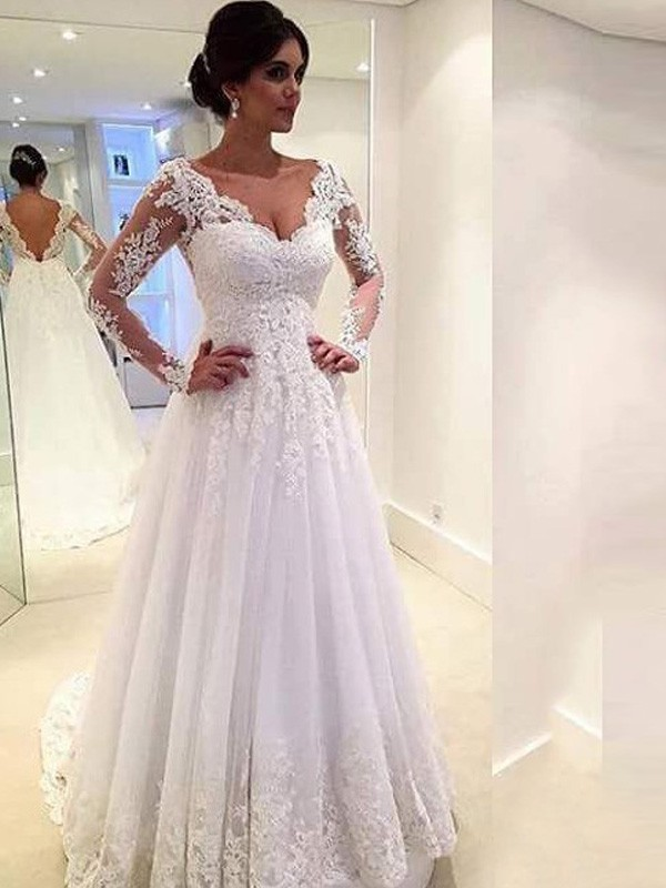 Ivory Tulle V-neck Ball Gown Sweep/Brush Train Wedding Dresses