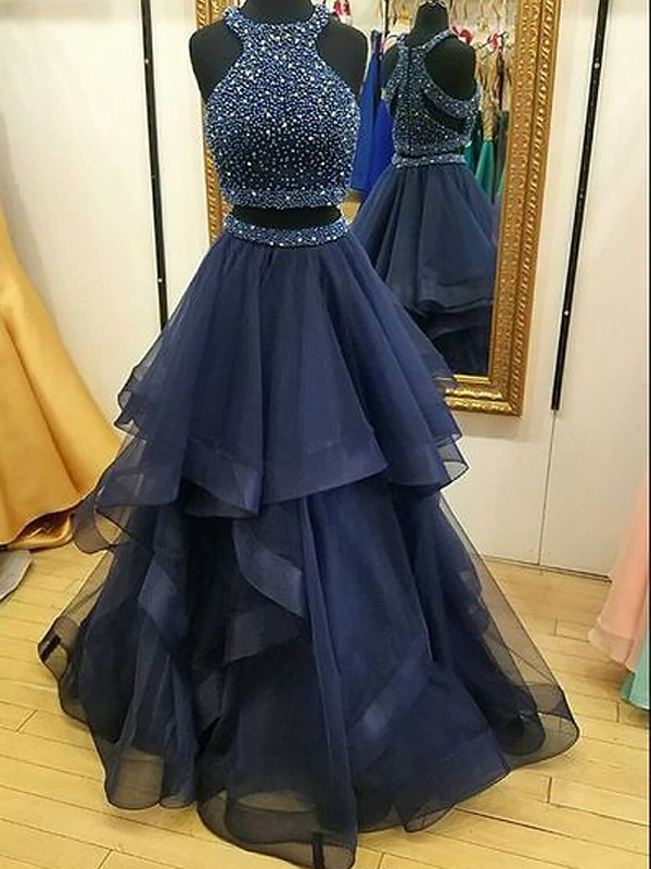 Dark Navy Organza Halter A-Line/Princess Floor-Length Dresses