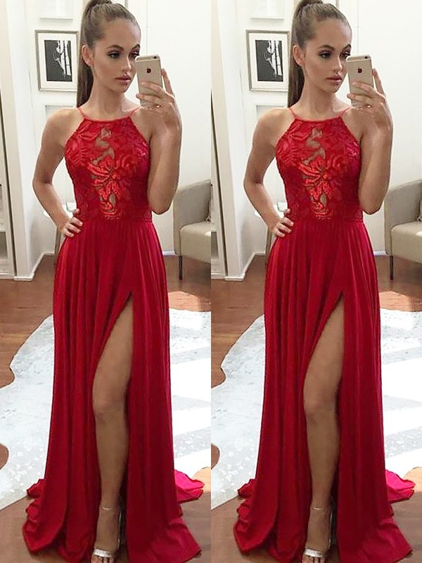 Red Chiffon Halter A-Line/Princess Sweep/Brush Train Dresses