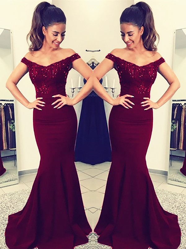 Burgundy Satin Off-the-Shoulder Trumpet/Mermaid Sweep/Brush Train Dresses