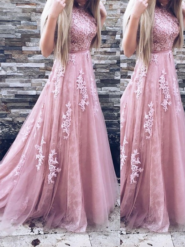 Pink Tulle Scoop A-Line/Princess Sweep/Brush Train Dresses