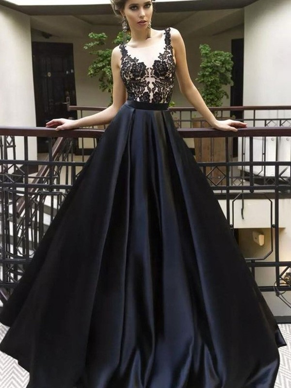 Black Satin Sheer Neck A-Line/Princess Sweep/Brush Train Dresses