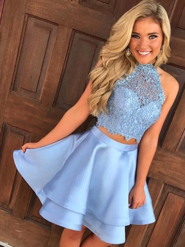 Blue Satin Halter A-Line/Princess Short/Mini Dresses