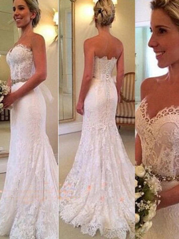 Ivory Lace Sweetheart Trumpet/Mermaid Sweep/Brush Train Wedding Dresses