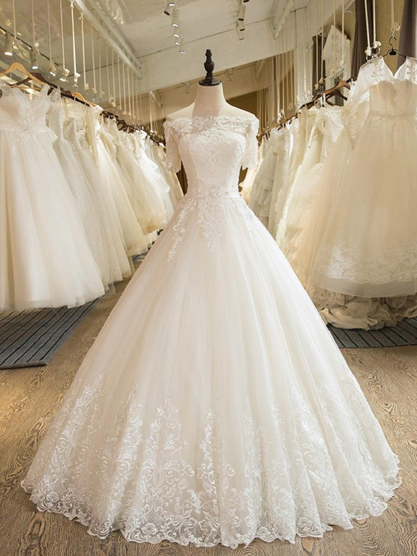 Ivory Tulle Off-the-Shoulder Ball Gown Floor-Length Wedding Dresses