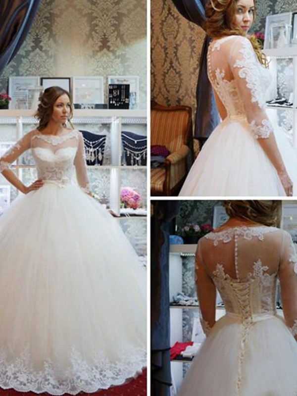 Ivory Tulle Scoop Ball Gown Floor-Length Wedding Dresses