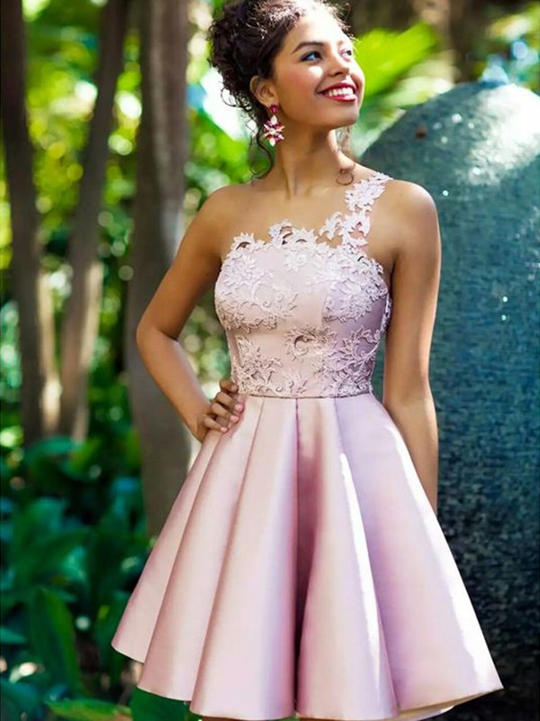 Pearl Pink Satin One-Shoulder A-Line/Princess Short/Mini Dresses