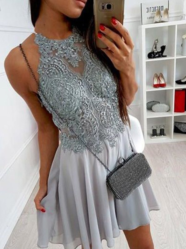 Grey Chiffon Halter A-Line/Princess Short/Mini Dresses