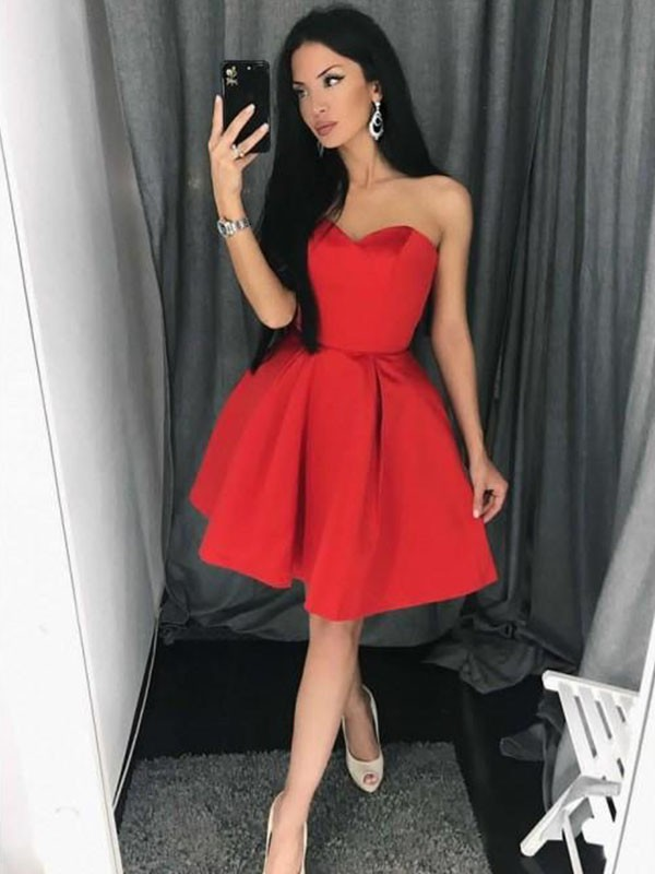 Red Satin Sweetheart A-Line/Princess Short/Mini Dresses