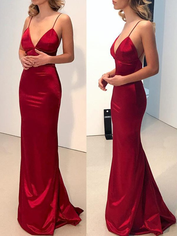 Burgundy Satin Spaghetti Straps Sheath/Column Sweep/Brush Train Dresses
