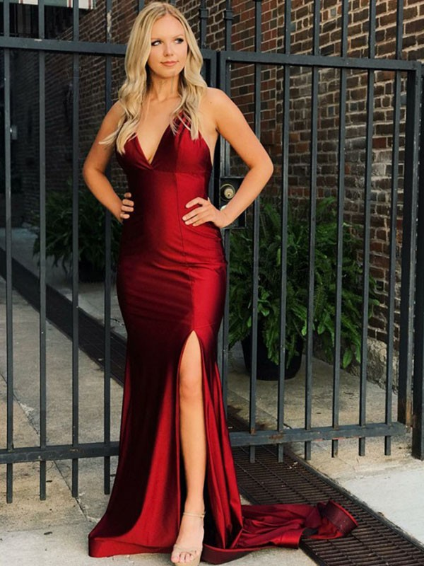 Burgundy Satin V-neck Trumpet/Mermaid Sweep/Brush Train Dresses