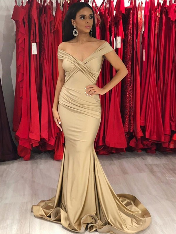 Champagne Satin Off-the-Shoulder Trumpet/Mermaid Sweep/Brush Train Dresses