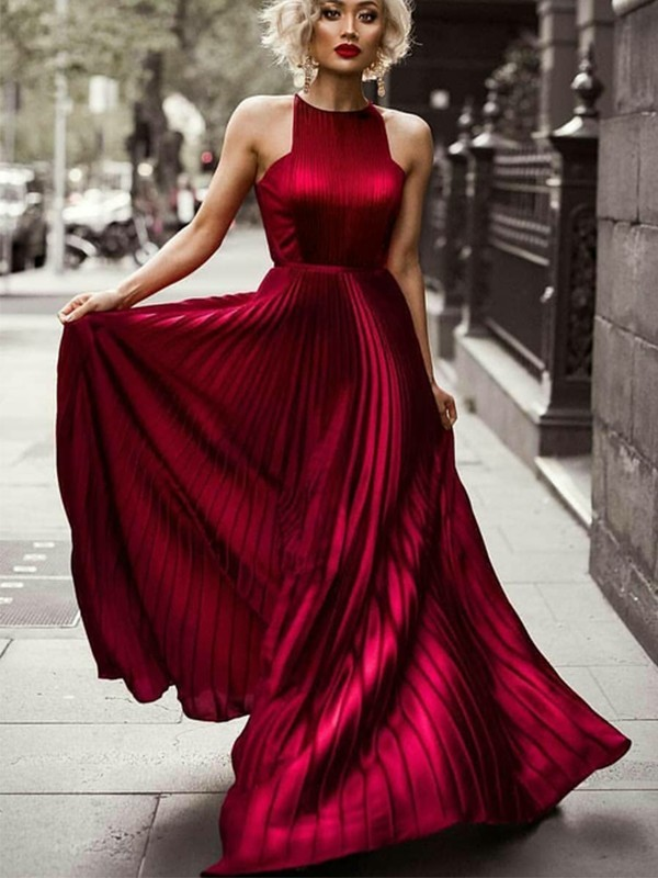 Red Silk like Satin Halter A-Line/Princess Floor-Length Dresses