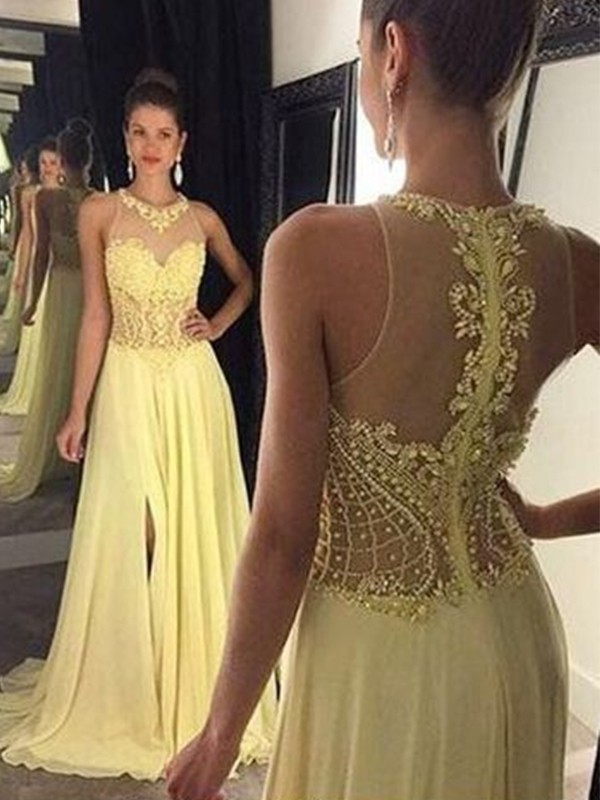 Yellow Chiffon Sheer Neck A-Line/Princess Sweep/Brush Train Dresses